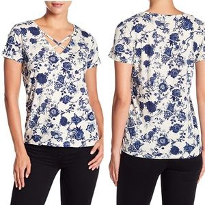 Lucky Brand Floral Printed Cross Strap Top